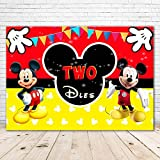 Classinc Mickey Mouse Backdrop 2nd Birthday 7x5 Red and Black Mickey Mouse Oh Twodles Backdrop for Boys Vinyl Mickey Mouse Head Birthday Party Background for Kids