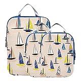 Juego de bolsas organizadoras de maletas, juego de cubos de embalaje de barcos de guerra náuticos para yates de dibujos animados, cubos de embalaje expandibles para maletas para equipaje de mano, via