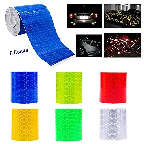 6 Rolle Reflektorband Klebeband ,Wetterfestes Reflektionsband ,Warnklebeband Reflektierend & Selbstklebend- Sicherheit Zur Markierung - Reflektierendes Klebeband (3M * 50mm)