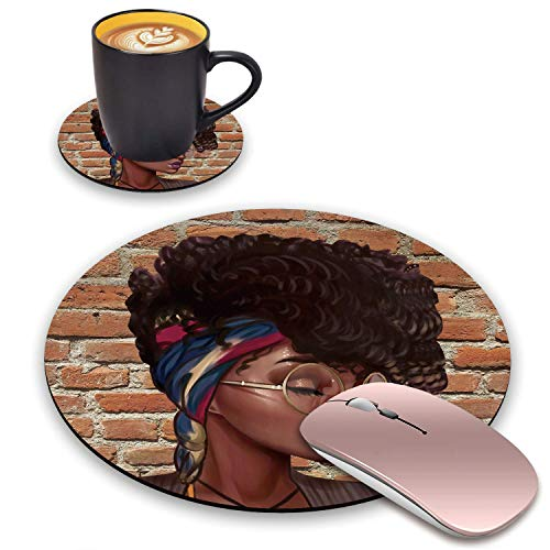 BWOOLL Round Mouse Pad and Coasters Set, African American Girls Design Mouse Pad, Non-Slip Rubber Base Mouse Pads for Laptop and Computer