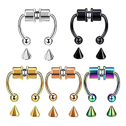 5 unidades de pendientes magnéticos de acero inoxidable para septum, piercing de herradura, anillos falsos para la nariz, no piercing
