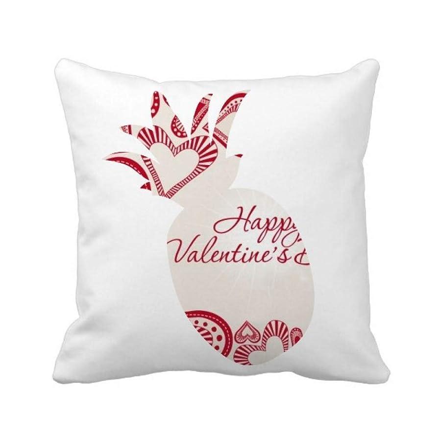 白鳥ロールサイトライン幸せなバレンタインデーかわいい赤の心 パイナップル枕カバー正方形を投げる 50cm x 50cm