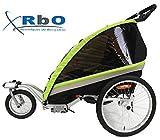 RBO509 Remolque de Bicicleta para nios Travel, 2 PLAZAS, Plegado rapido, antivuelvo, Manillar Regulable, Rueda 360, Frenos Independientes.