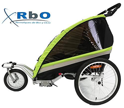 RBO509 Remolque de Bicicleta para niños Travel, 2 PLAZAS, Plegado rapido,...