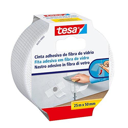 tesa Nastro per la sigillatura di giunture nei muri e soffitti auto-adesivo e in fibra di vetro - Bianco - 25 m x 50 mm