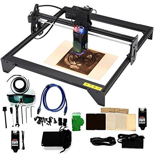 HPDOM Newest Version 20W Carving Machine Laser Engraver DIY Carver Kit, 12V USB Engraving Area 40X41cm, Adjustable Desktop Laser Power Printer Carving & Cutting with Protective Glasses