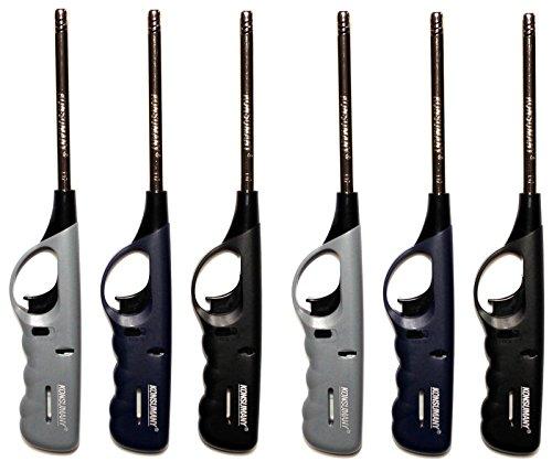 KONSUMANY 6 Stück, Stabfeuerzeug Gas Feuerzeug 27 cm Lang Nachfüllbar