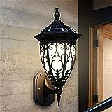 Lámpara industrial, Luces de pared al aire libre Retro estilo europeo exterior LED Luces de seguridad solar de la seguridad congelada Vidrio congelado Aluminio de aluminio impermeable Café Linterna Mu