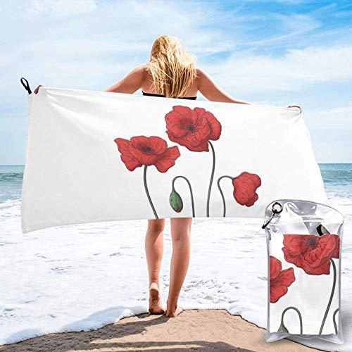 Unique Life Toalla de baño de flores de amapola, toalla de gimnasio, toalla de playa, microfibra suave de secado rápido, ligero