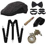 GOLDG 1920s Herren Accessoires Set Mafia Gatsby Gatsby Kostüm Set mit Panama Gangster Hut...