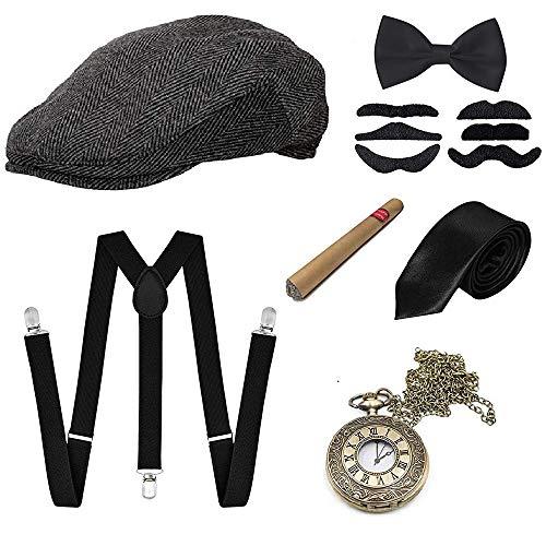 GOLDG 1920s Herren Accessoires Set Mafia Gatsby Gatsby Kostüm Set mit Panama Gangster Hut Verstellbarem Hosenträger Krawatte Fliege Retro Taschenuhr Zigarre Bart (7PCS)