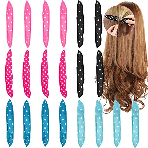 20pcs Flexible Foam Sponge Hair Curlers, Soft Sleep Pillow Hair Rollers Set No Heat Hair Curlers Magic Pillow Hair Care DIY Styling Tools Comfy to Sleep on (4 Colors)