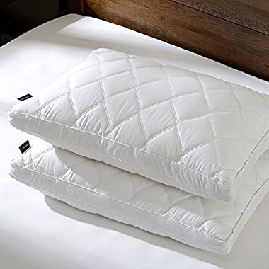 downluxe Set of 2, Gusseted Down Feather Pillows Sleeping(King,18x34+2  H) 100% Cotton Qulited Cover Ultra Fresh Treatment, Hypoallergenic - Suprior Quality Bed Pillows