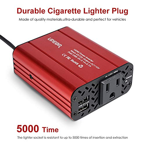 150W Car Power Inverter 12V DC to 110V AC Converter with 4.2A Dual USB Car Charger Adapter Modified Sine Wave Converter with AC Outlet for Car(Red)