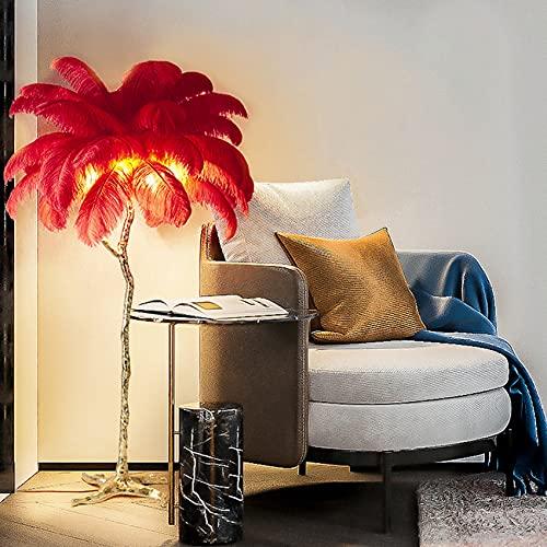 yanzz Lámpara de pie de Plumas, lámpara de pie nórdica de Cobre E27, lámpara de pie Tipo árbol, decoración de Sala de Estar, Dormitorio, escaparate 110 * 170