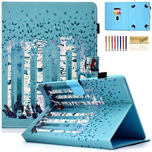 Casii Universal-Schutzhülle für Tablets mit 20,3 cm (8 Zoll) & Kartenfächern, hochwertiges Leder, für Amazon Kindle, Samsung Galaxy Tab, Lenovo, Huawei, Asus, Windows Tablet, Forest Fox