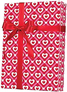 Red Pink White Hearts Happy Valentine's Day Gift Wrap Wrapping Paper - 15ft Roll