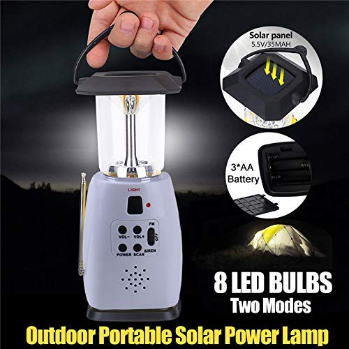 MAYSAK Solar Camping Lantern Hand Crank FM Radio LED Lights, Multi-Functional 4-Way Powered and Emergency Cell Phone Charger