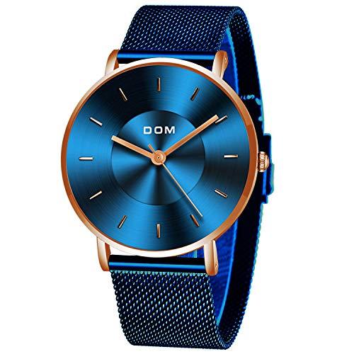Relógio de pulso masculino DOM, moderno, ultrafino, minimalista, impermeável, preto, azul, quartzo, relógios simples com malha de aço inoxidável para negócios, Azul, X