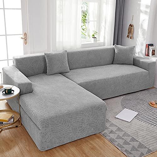 Fundas de sofá Impermeables sólido Gran Funda de sofá Cama de Jacquard Protector de Muebles con Elasticidad para 3 Fundas de Almohada-Gris Claro_Posición para Cuatro Personas: 235-300CM