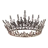 SWEETV Baroque Queen Crown for Women, Rhinestone Wedding Crown, Black Tiara Costume Party Accessories for Brithday Prom