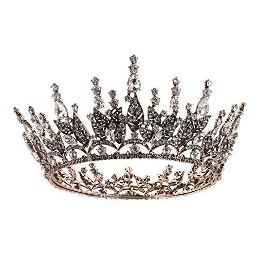SWEETE Barock Königin Krone für Frauen, Strass Hochzeitskrone für die Braut, Kostüm Party Zubehör für Geburtstag Halloween