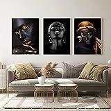 Piel Negra Labios Dorados Pintura de Mujer sobre Lienzo Carteles e Impresiones Maquillaje Africano Imágenes artísticas de Pared para la decoración de la Sala de Estar 40x60cmx3 Sin Marco