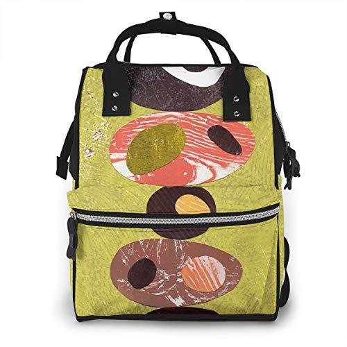 Eames Era - Mochila de viaje, impermeable, multifunción, diseño retro, color naranja, verde lima y negro, para el cuidado del bebé, gran capacidad, elegante y duradera