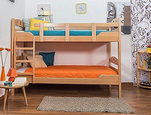 Etagenbett für Erwachsene Easy Premium Line  K11 n, Kopf- und Fu il mit L ern, Buche Vollholz massiv Natur - Ma  90 x 200cm  , teilbar