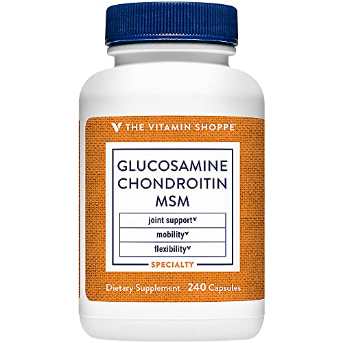 The Vitamin Shoppe Glucosamine Chondroitin MSM, High Potency Joint Structure and Mobility Supplement with MSM to Support Healthy Collagen for Joint Support (240 Capsules)