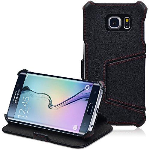 Manna UltraSlim Hülle für Samsung Galaxy S6 Edge | Aufstellbar | Nappaleder schwarz, farblich abgesetzte Naht | Innenseite mit Microvlies gepolstert