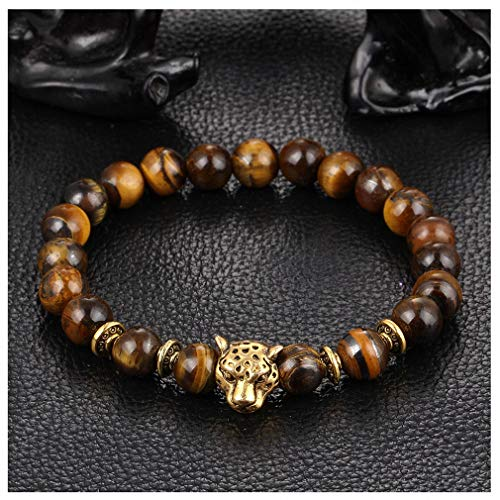 Giwotu Womens Gold Leopard Head Gold Tiger Eye Bead Buddha Bracelet for Men Fashion Male Punk Jewelry Bracelets & Bangles Gold