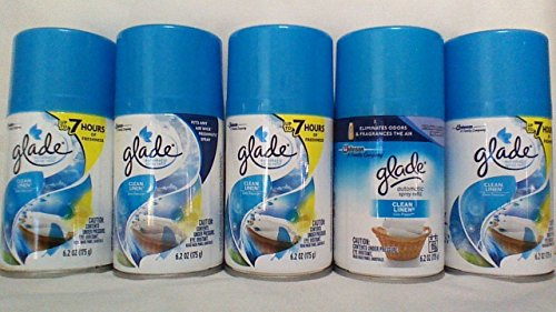 5 Glade Automatic Spray Air Freshener Refill, Clean Linen, 6.2 Ounce (Pack of 5)