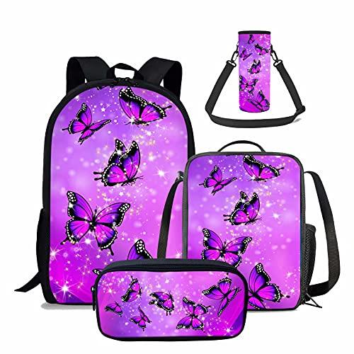 chaqlin Juego de 4 bolsas escolares para niños y niñas, incluye mochila...