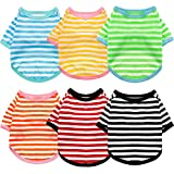 6 Pieces Dog Striped T-Shirt Dog Shirt Breathable Pet Apparel Colorful Puppy Sweatshirt Dog Clothes for Small to Medium Dogs Puppy (M)