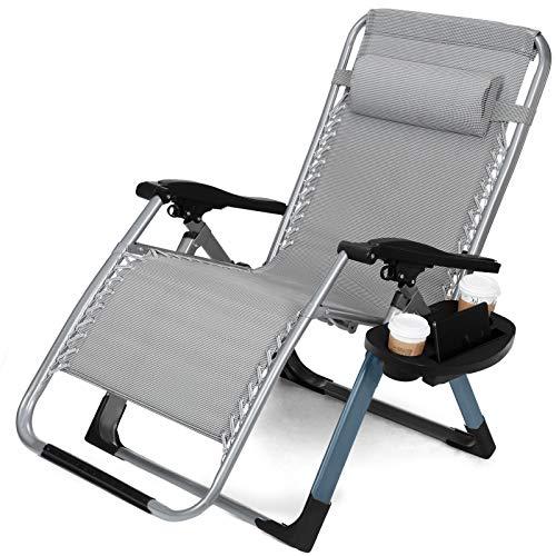 Guoyajf Verbesserte Schwerlast-Schwerelosigkeit-Sessel Lounge Recliner Büro Patio Folding einstellbar tragbare W/Square Leg & Cup Holder Unterstützung 330 LBS