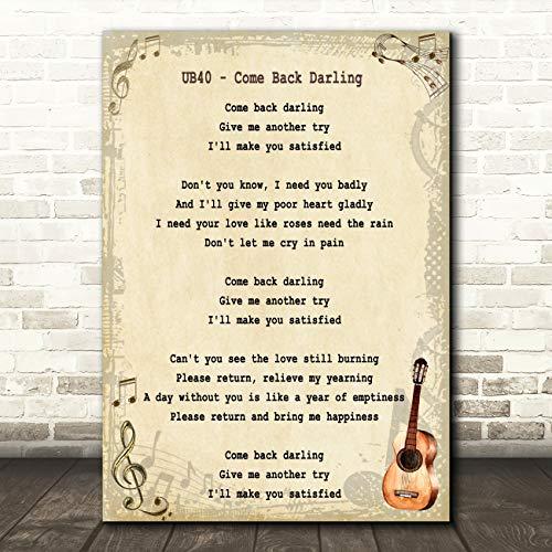Kom terug Darling Song Lyric Vintage Quote Muziek Gift Wall Art Poster Print Small A5
