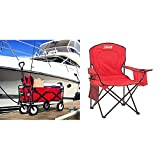 Mac Sports Mac Wagon (WTC-109) Red & Coleman Portable Quad Camping Chair with Cooler