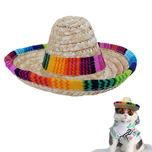 Bettli Dog Sombrero Hat, Cat Mexican Hats Mini Straw with Multicolor TrimSombrero Party Hats for Small Pets/Puppy/Cat