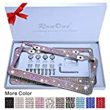 2 Pack AB Crystal License Plate Frame for Women,Luxury Rhinestone Sparkling License Plate Frame with Giftbox & Diamond Bling Cap Screw Set