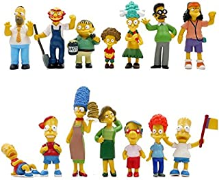 The Simpsons 14 Piece Figure Set Featuring Homer Simpson, Bart Simpson, Ned Flanders, Marge Simpson, Milhouse, Rod Flander...