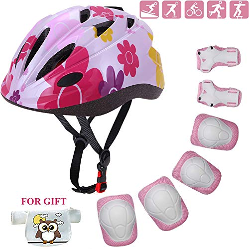 Kids Helmet Adjustable Toddler Bike Helmet with Sports Protective Gear Set Knee Elbow Wrist Pads for Child Ages 3 to 10 Years Old Boys Girls Cycling Skating Skateboard Roller Scooter Helmet