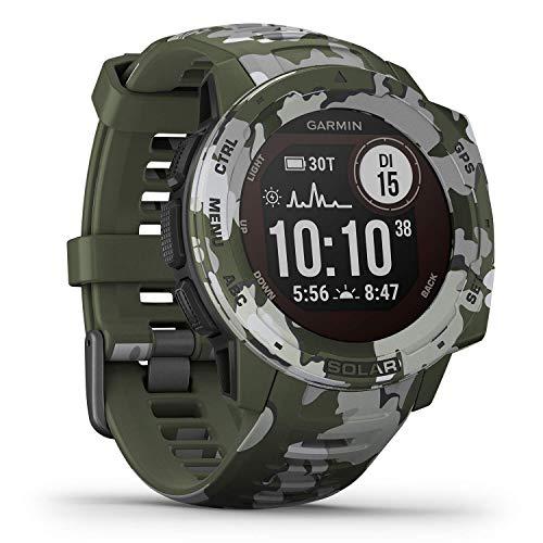 Garmin Instinct Solar - wasserdichte GPS-Smartwatch mit Solar-Ladefunktion für bis zu 54 Tage Akku. Mit Sport-/Fitnessfunktionen, Herzfrequenzmessung am Handgelenk und Smartphone Benachrichtigungen