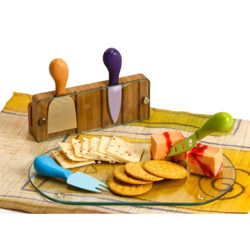 Picnic Plus Tempered Glass Monaco Cheese Board with Serving Tools