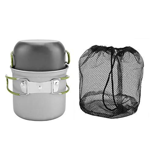 Topincn Camping kookgerei 2-delig/set draagbare aluminium pannen voor outdoor BBQ reis backpacking wandelen picknick koken met inklapbare handgreep