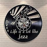 Jazz Vinyl Record Reloj de Pared decoración Moderna para el hogar Personalidad decoración de la Sala de Estar Creativa Halloween para Hombres y Mujeres Wall Clocks