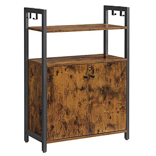VASAGLE Sideboard, Küchenschrank, Beistellschrank mit Ablage, Badschrank, Stahlgestell, für Esszimmer, Küche, Wohnzimmer, Eingangsbereich und Schlafzimmer, vintagebraun-schwarz LSC602B01