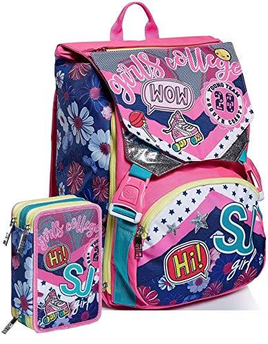 Schoolpack Zaino Seven SJ Gang Pinky College Estensibile + Astuccio 3 Zip Completo
