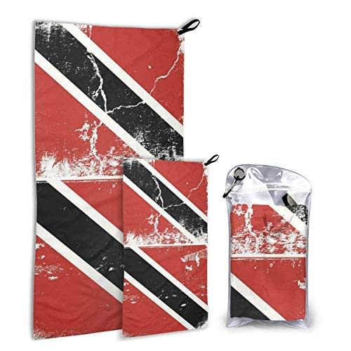 Lsjuee Fast Quick Dry ?¤ Ultra Compact ?¤ Lightweight,Flag of Trinidad Tobago Grunge Microfiber Towels - Gym Travel Camp