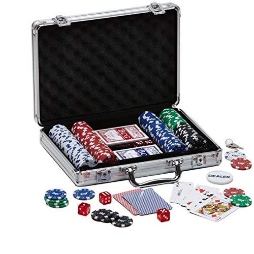 PROMO SHOP Poker Aktentasche mit 200 Poker Chips mit 5 verschiedenen Werten, 5 Würfeln, Chips Distributor und 2 DecksProfessional · Poker Set mit starker Aluminium Poker Aktentasche